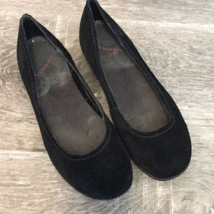 Merrell black suede flats size 8